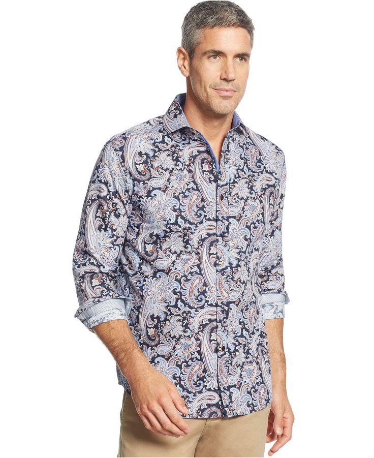 Tasso Elba Long Sleeve Paisley Shirt - Casual Button-Down Shirts - Men - Macy's