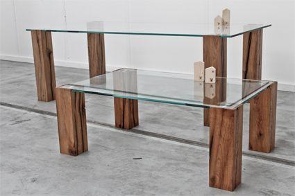Ancient oak legs with tempered glass table http://www.matitaly.com/en/i-monaci-2-coffee-table-2/ pic© Stefania Bonatelli