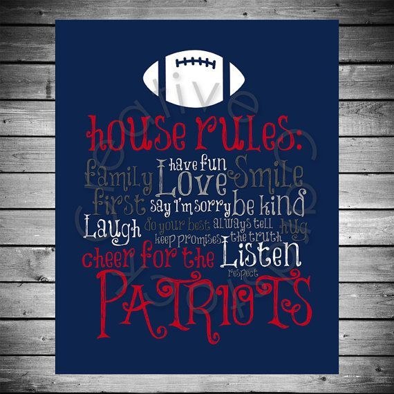 New England Patriots House Rules - 8x10 INSTANT Digital Copy