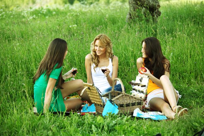 Какие блюда взять на природу, природа, весна, девушка, макияж, пикник