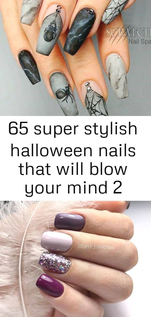 65 Super Stylish Halloween Nails That Will Blow Your Mind 2 Matte Marbled Spiders Mattenails Coffinnails Simple An Halloween Nails Nails Holiday Nail Art