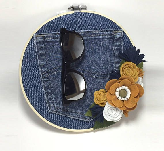 recycled denim wall decor with burnt orange, navy and white UT Longhorn colors - sunglasses organizer - framed via embroidery hoop