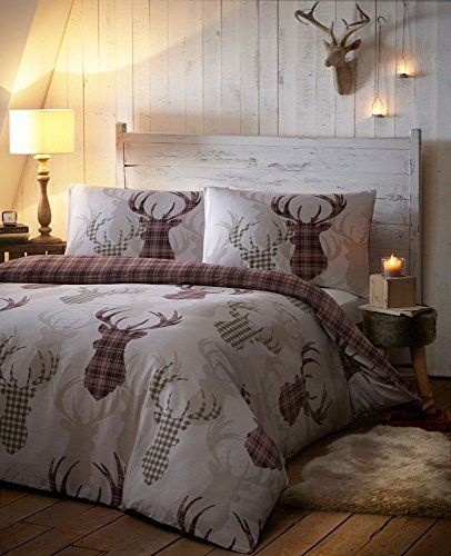 From 15.73 Duvet Cover Bed Sets - Tartan Stag Reversible Bedding Checked Quilt Cover Bed Set - Natural Shades (double)