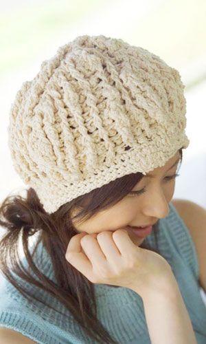 かぎ針編みのビーニー帽子のアイデア☆ぽこぽこ付きのスラブ糸を使えばザクザク編んでも模様編みのようなテイストに♪