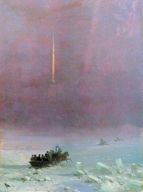 Ivan Aivazovsky - Petersburg.                    The ferry across the river. 1870