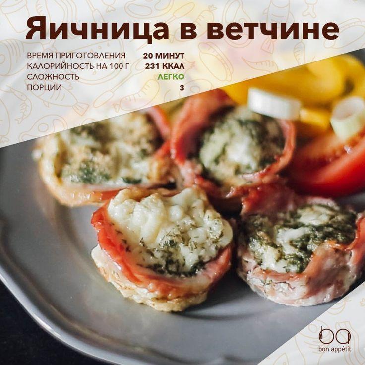 Яичница в ветчине  Яйца и ветчина есть под рукой всегда. Мы покажем вам, как с помощью формы для кексов привычную яичницу с ветчиной сделать не только вкусной, но и красивой.  Ингредиенты:  Яйцо — 3 шт. Ветчина — 300 г Соль — ¼ ч. л. Перец — ¼ ч. л. Растительное масло — ½ ч. л. Зелень — по вкусу  Приготовление:  1. Разогрейте духовку до 200 °С. Смажьте форму для выпечки кексов растительным маслом. 2. Выложите каждую формочку для кекса тонкими кусочками ветчины. 3. В миску разбейте яйца…