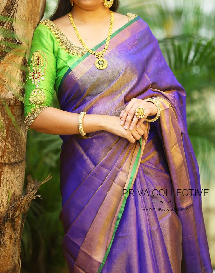 PV 3475 : Violet Tissue SariPrice : 4450u20b9Violet tissue sari finished with gold zari and green palluUnstitched blouse piece - Green running blouse piece / Pink maggam work blouse piece as shown in the picture is available at additional priceFor Order 13 September 2017