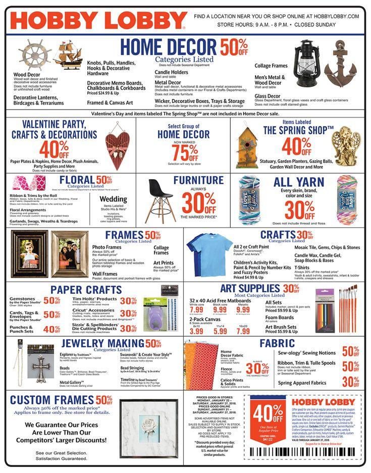Hobby Lobby Weekly Ad Jan 21-27, 2018 http://www.weeklyadspecials.com/hobby-lobby-weekly-ad/