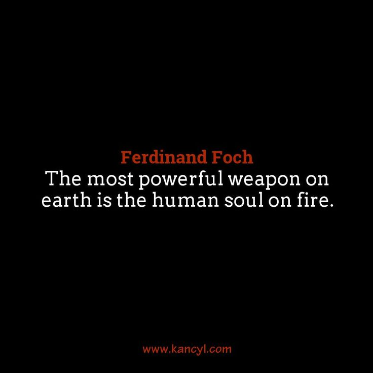 """The most powerful weapon on earth is the human soul on fire."", Ferdinand Foch"