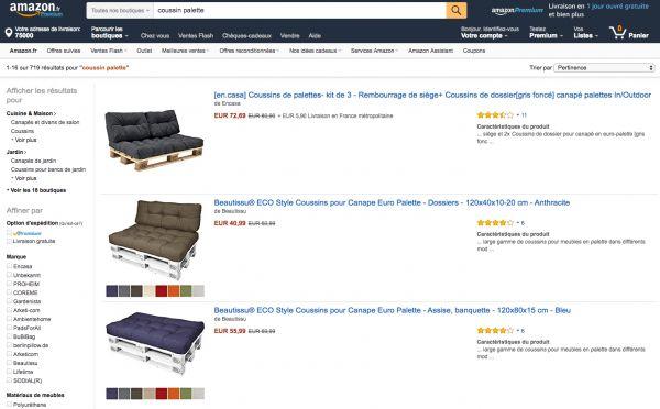 Coussins pour palette chez Amazon