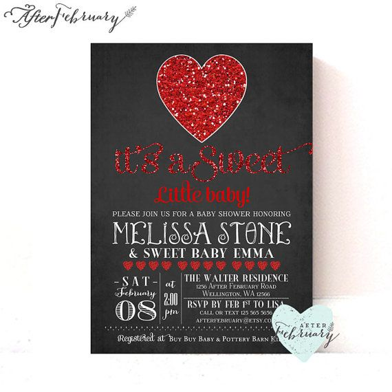 Valentine Baby Shower Invitation  February Baby by AfterFebruary