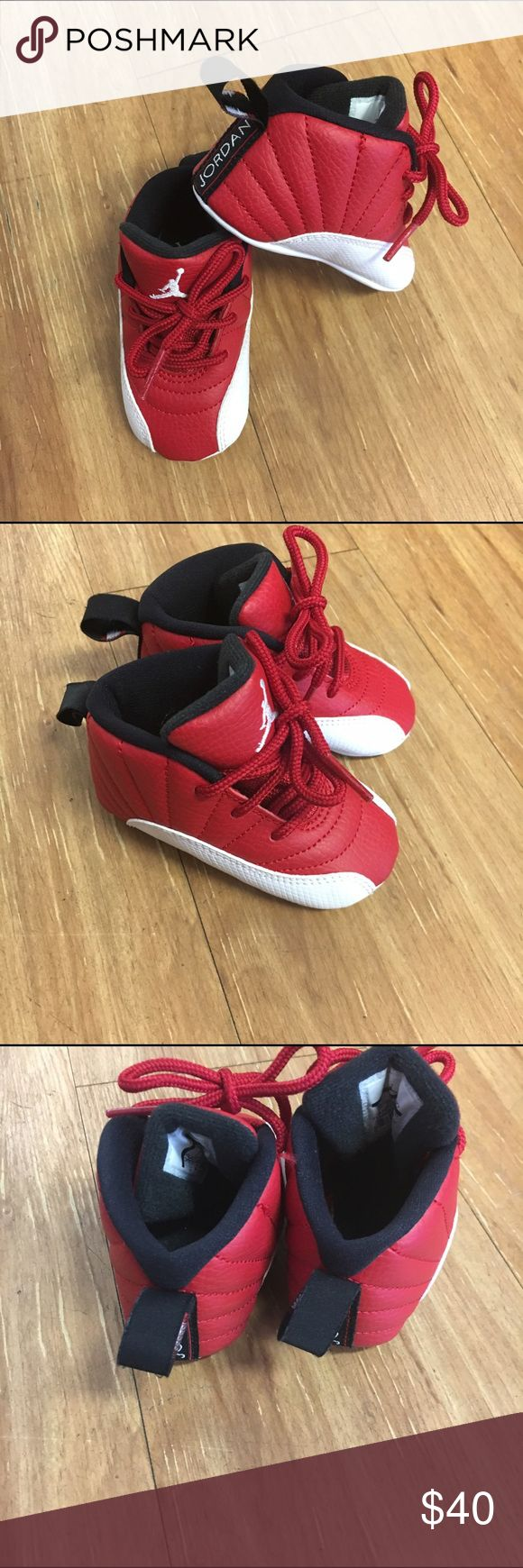 """Nike Air Jordan Retro 12 XII Alternate Red White 3 Nike Air Jordan Retro 12 XII Alternate Red White Crib Shoes 3  In excellent condition.  Due to being infant shoes, these have very little sign of use.  Bottom of outsole measures just short (millimeters) of 5"""".  #nike #kicks #coolkicks #alternatered #jordan #retroxii #retro12 #black #basketball #white Jordan Shoes Sneakers"""