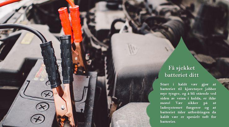 Batteri  Kalde temperaturer kan svekke batteriet ditt. Be en profesjonell sjekke etter spor av korrosjon for å sikre bekymringsfri oppstart. Vær også sikker på at kablene er godt festet. #vinterdekkene