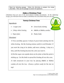 Recipe for Reading Comprehension- Christmas Tree   Christmas Holiday ...