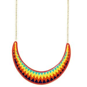 Bright Aztec Crescent Plate Necklace - Quirky Necklaces - Necklaces - Jewellery