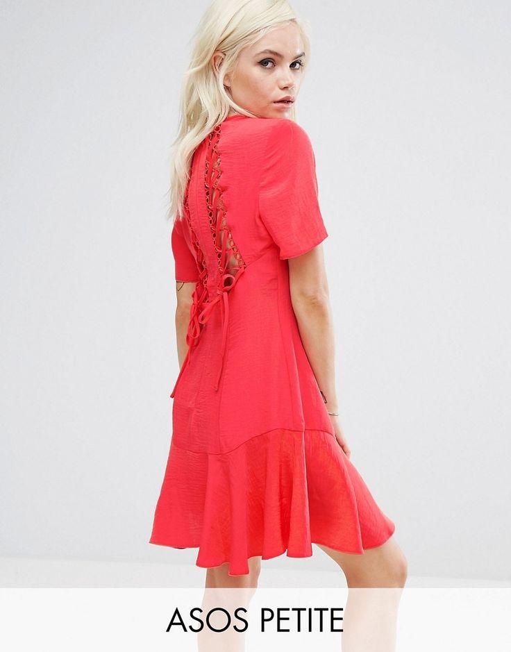 ASOS PETITE Lace Up Back Tea Dress - Red