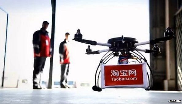 Alibaba begins drone delivery trials: Chinese e-commerce giant Alibaba says that is has begun to test drone delivery in China. It says that it delivers ginger tea packages of 340g weight (12oz) to customers in Beijing, Shanghai and Guangzhou. http://www.bbc.com/news/technology-31129804