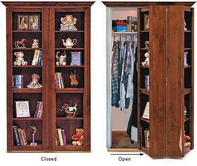 Murphy door: used to convert doorway space into useful shelving while keeping the area behind it hidden from view