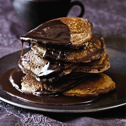 Paul A. Young's Chocolate Pancakes With Chocolate Maple Syrup. Great to brighten up a lazy weekend brunch. See the recipe by clicking on the photo, or go to www.redonline.co.uk.
