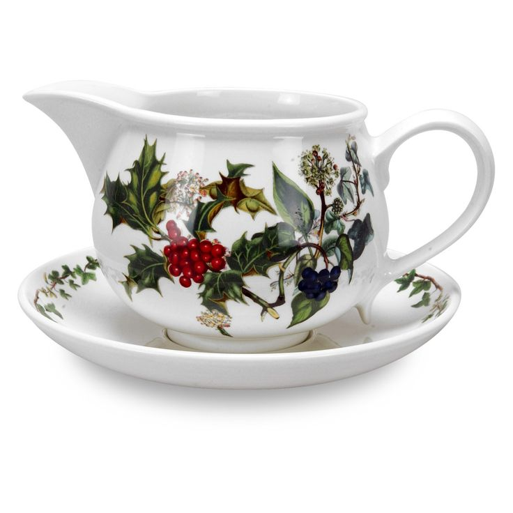 Portmeirion Holly and Ivy Gravy Boat and Stand - 64120
