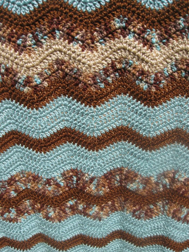 """The Colors   I love the colors in my current """"work in progress"""" crocheted ripple throw...  Muddy  Waters !    Shades of brown and aqua mi..."""