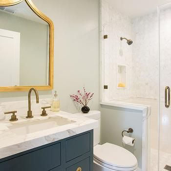 Navy Vanity, Transitional, Bathroom, Fiorella Design
