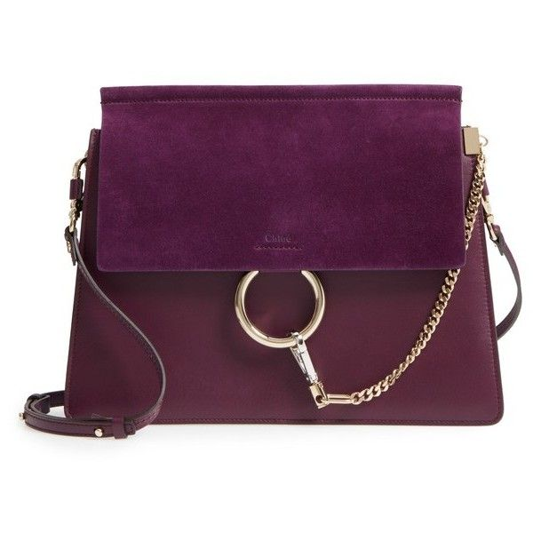 Women's Chloe Faye Suede & Leather Shoulder Bag (£1,445) ❤ liked on Polyvore featuring bags, handbags, shoulder bags, intense violine, shoulder handbags, equestrian handbags, purple purse, equestrian purses and purple shoulder bag