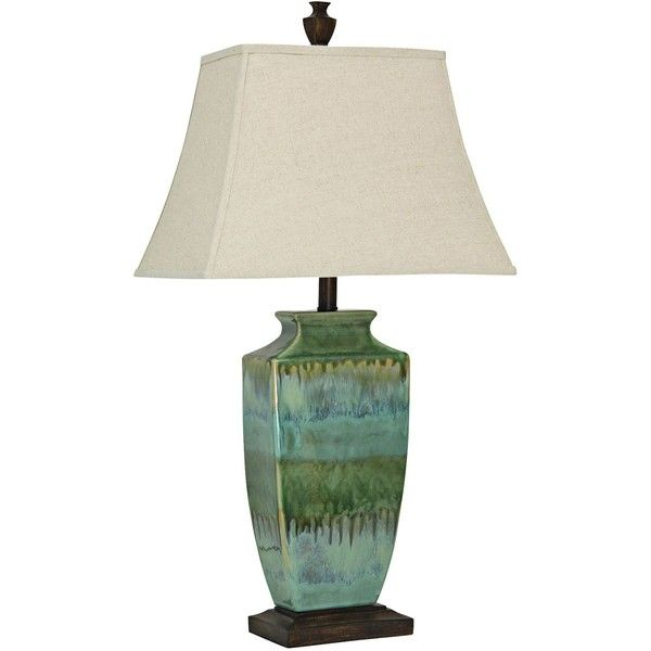 Universal Lighting And Decor Ardino Teal Blue And Green Table Lamp ($130) ❤  Liked