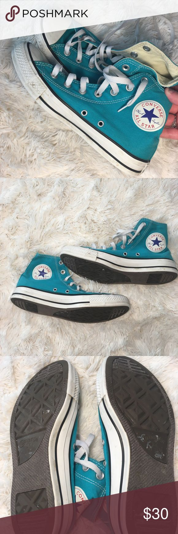 teal converse Great pair of teal converse! Minimal signs of wear (see pictures)! Make a reasonable offer! Converse Shoes Sneakers