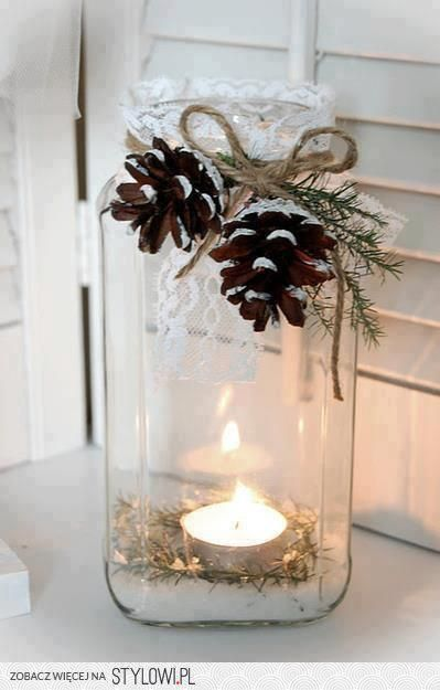DIY: Holiday Craft (Mason jars, Epsom salt 'snow, IKEA tea lights, pine