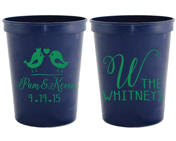 Personalized Wedding Favors Custom Wedding Cups Two Birds Wedding Cups Personalized Bridal Shower Gifts Rehearsal Dinner Favors 1266 by SipHipHooray