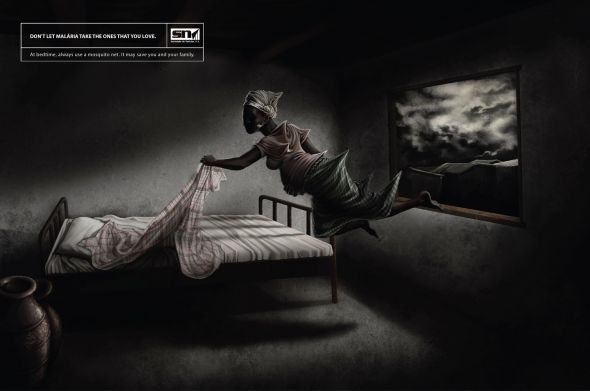 """2012, contro la malaria, """"Don't let malaria take the ones that you love.  At bedtime, always use a mosquito net. It may save you and your family"""" ente: Sociedade do notìcias, agenzia: DDD Mozambique"""
