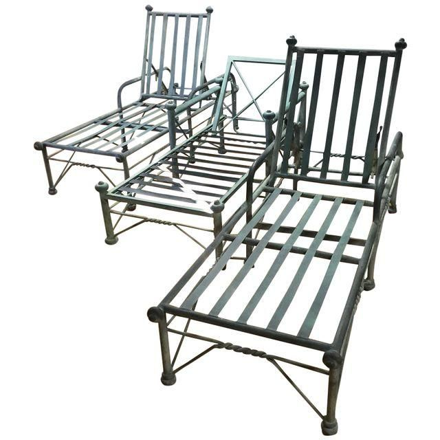 Image of Metal Outdoor Lounge Chairs - Set of 3