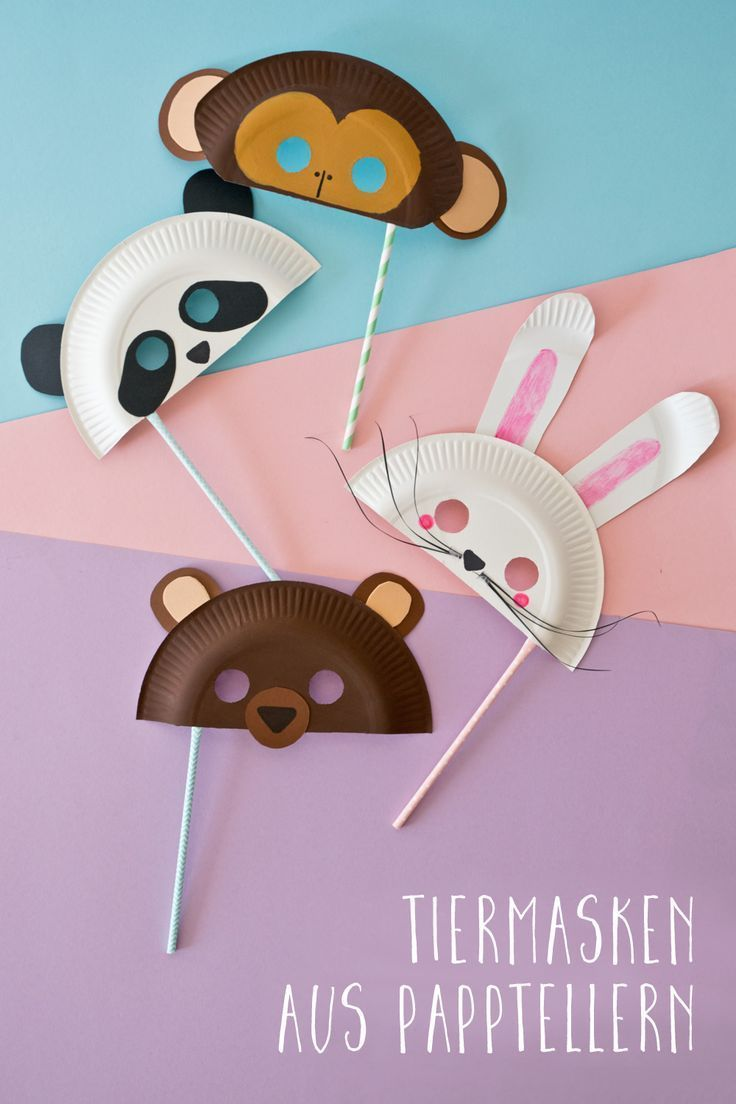 Lustige Tiermasken aus Papptellern – Kinderleute entspannte Familie
