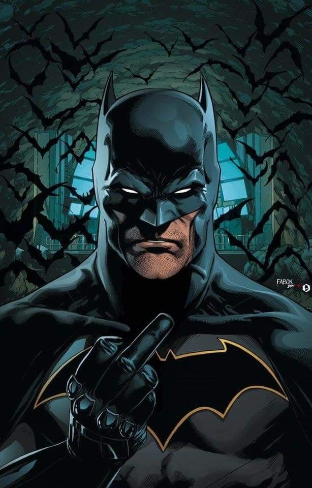 DC Comics Batman flips the bird. For similar content follow me @jpsunshine10041