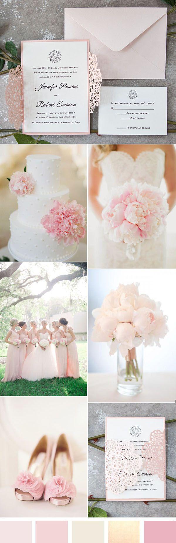 elegant and romantic soft pink wedding ideas and invitations#weddinginvitations #pinkwedding #ElegantWeddingInvites