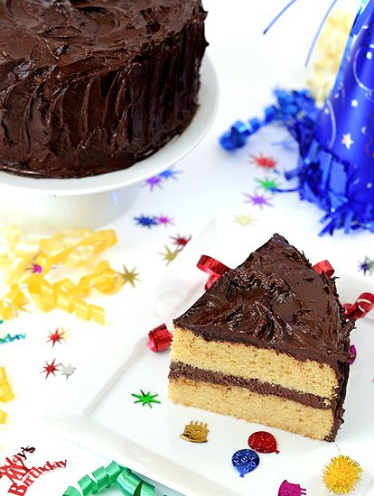clean-eating Birthday Vanilla Bean Cake with Chocolate Frosting - Plated with Style