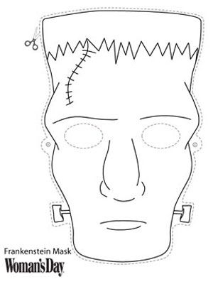 Halloween Crafts- Frankenstein Face Mask to Color at WomansDay.com - Woman's Day