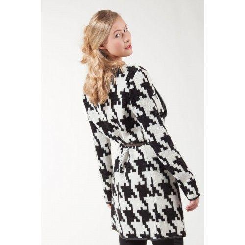 Mooie lange zwart-wit vest van Articles inclusief riem van 100% zachte wol!  | Fashion Exclusive