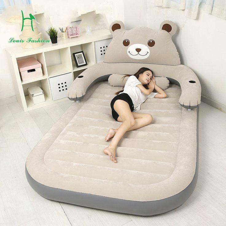El colchón tatami colchón de la cama inflable Pelotita Totoro doble pareja hogar portátil oso de dibujos animados en el suelo