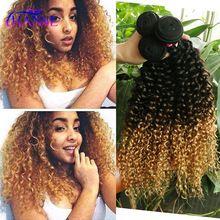 Short Malaysian Curly Hair 3pcs/lot kinky curly Remy Human hair weave three tone 1b/4/27 Malaysian ombre human hair extensions(China (Mainland))