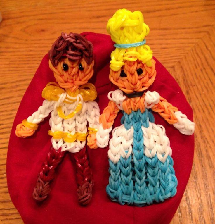 dit zijn Assepoester en haar prins als mini loom figuurtjes.
