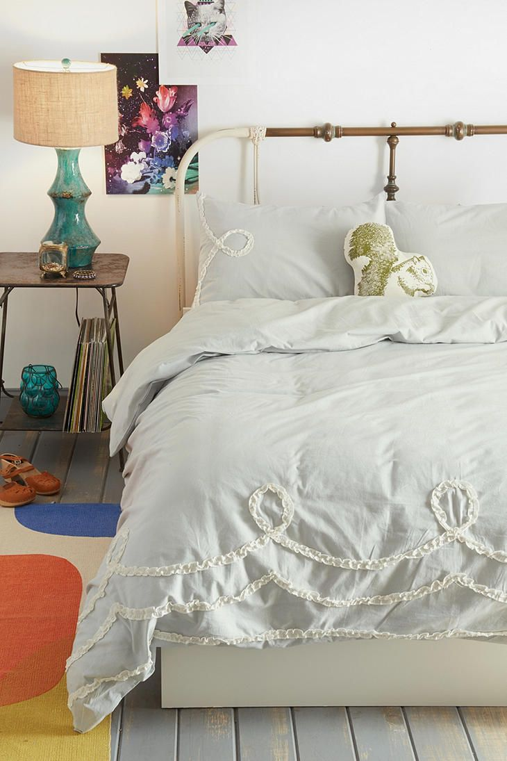 Pcs peter pan bedding set duvet cover fitted sheet pillow case worl - Plum Bow Ruffle Loop Duvet Cover Urban Outfitters