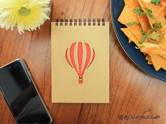 Hot Air Balloon Notebook  Voyage Spiral Notepad  Travel