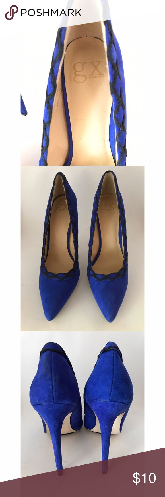 Gwen Stefani- GX- Black/Blue Pump- size 10 These are so cool! Gwen Stefani heels in good condition- size 10 pump with black intricate detailing. GX by Gwen Stefani Shoes Heels