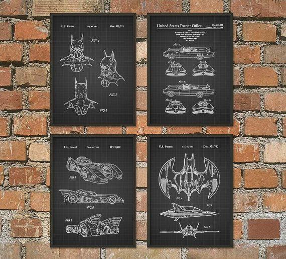 Batman Patent Prints - Set Of 4 Patent Wall Art Prints No2 - Batman Superhero Movie Posters