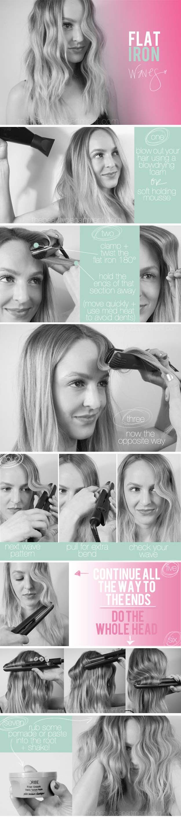 Hair Straightening Tutorials -Tame Your Curly Hair - Flat Iron Waves -Looking Fo...