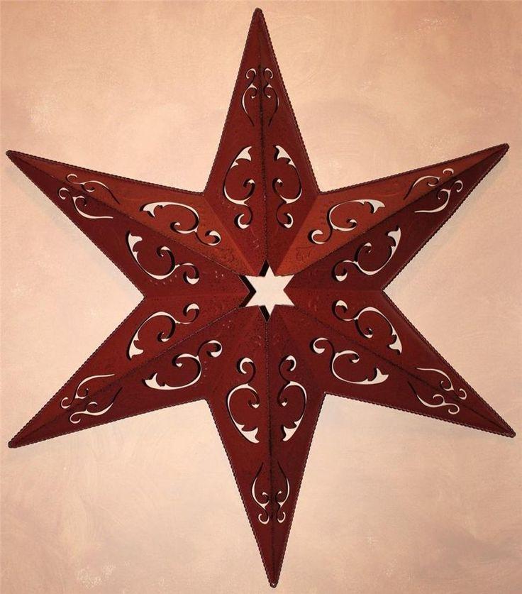 "Star Of Texas >> New Americana Texas Red Metal Barn Star 25"" Decor Rustic Large Filigree Rope | Metal barn ..."