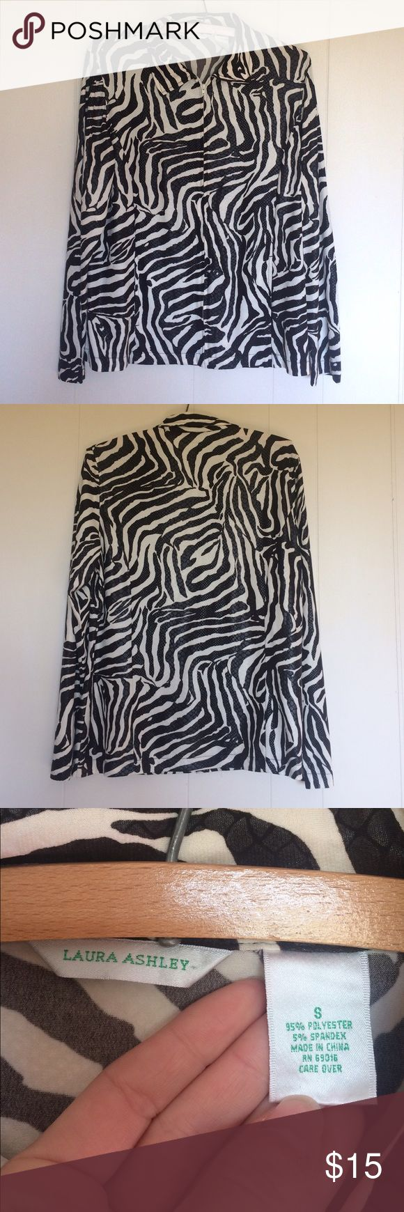 Laura Ashley Lightweight Zip Up Jacket Beautiful animal print lightweight zip up jacket. 95% polyester & 5% spandex. Preloved. Size Small. If you have any questions please ask before buying. :) *Colors may vary slightly from pictures* Laura Ashley Jackets & Coats