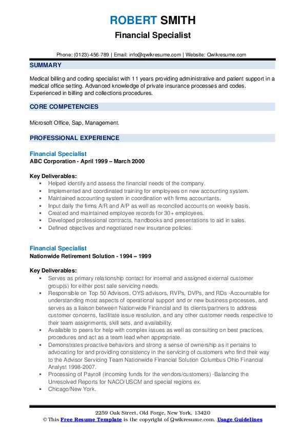 Financial Specialist Resume Samples Qwikresume Image Result For Resume